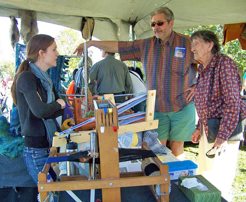Julie demonstrating weaving